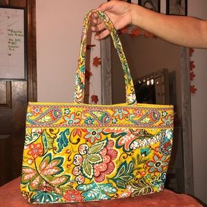 Yellow multicolor floral Vera Bradley tote bag